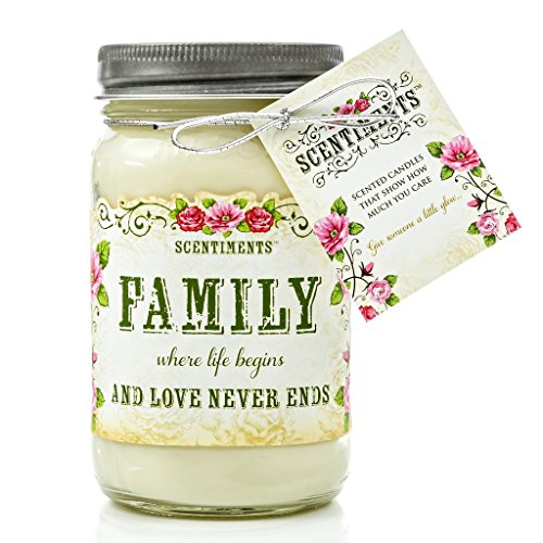 FAMILY Gift Candle Scented with Cinnamon Fragrance - 100% Soy Wax handmade in the USA