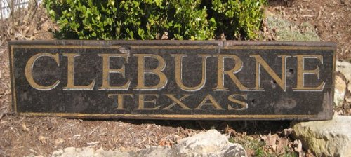 Delightful CLEBURNE, TEXAS   Rustic Hand Painted Wooden Sign   9.25 X 48 Inches