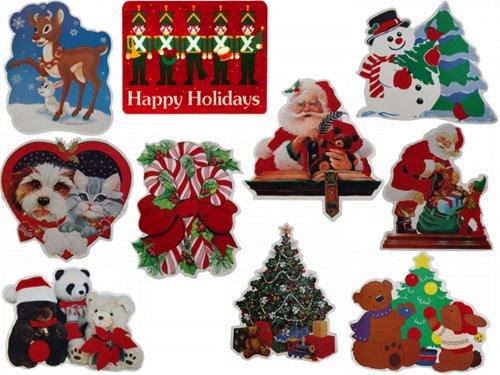 CLASSIC Velvet Christmas Paper Cut-Out Decorations - 10 Scenes, 7 Each, 70 Pieces Total