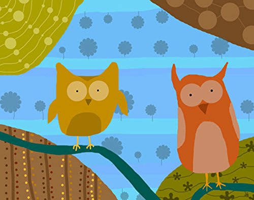 Green Leaf Art Owls with Patterns 2 Canvas Art
