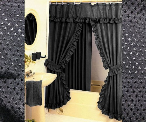 Diamond Pattern Fabric Double Swag Shower Curtain Set Tiebacks Hooks Black