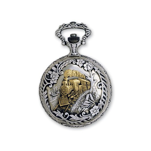 Jd Manoir Two-Tone White Dial Quartz Steamer Pocket Watch, Best Quality Free Gift Box Satisfaction Guaranteed front-605782