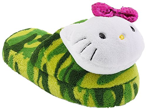 Hello-Kitty-Girls-Camouflage-Plush-Slippers