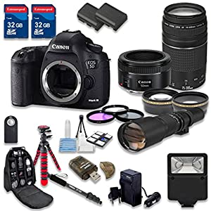 Canon EOS 5D Mark III Digital SLR Camera with Canon EF 50mm f/1.8 STM Lens + Canon EF 75-300mm f/4-5.6 III Lens + 500mm f/8 Preset Lens - International Model