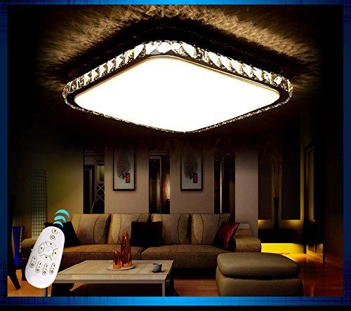 LED Deckenleuchte 2017-60x60cm Kristall bernstern inkl.LEDs und Fernbedienung Lichtfarbe/ Helligkeit einstellbar 48w [Energieklasse A+] (bernstein)