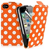 Supergets® Apple iPhone 4 / 4S Polka Dot Top Flip Case Covers, Screen Protector And Polishing Cloth ( Orange )