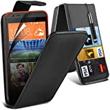 ( Black ) HTC Desire 620 Case Protective Stylish Fitted PU Leather Flip With 2 Credit / Debit Card Slot Case Skin Cover With LCD Screen Protector Guard, Polishing Cloth & Mini Retractable Stylus Pen by Spyrox