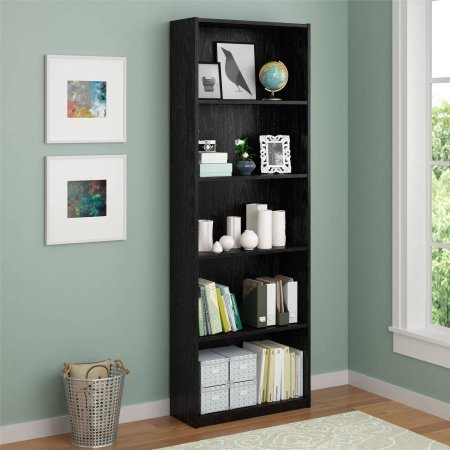 Ameriwood 5-Shelf Bookcase, Decorative bookcase is easy to assemble Doubles as an open shelving unit (Black) (Wall Unit Bookcase compare prices)