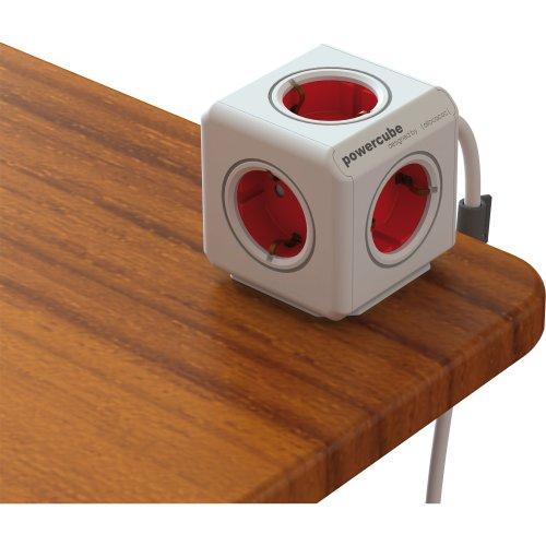 Allocacoc PowerCube - Enchufe de red con 5 tomas y alargo, Rojo