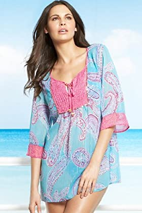 3/4 Sleeve Paisley Kaftan - Marks & Spencer :  beach marks spencer beachwear cover up