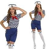 Damen-Kostm-sexy-Matrose-Marine-Militruniform-mit-Strmpfen-Blau-EU-44-46
