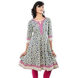 Saamarth Impex Multi-color Printed 3/4 Sleeve Cotton Anarkali Style Kurites SI-2080