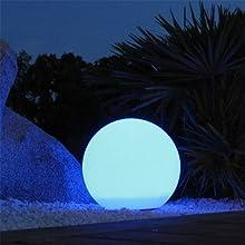 Lumisky 303091 Contemporain Boule Sphère Lumineuse sans Fil + Télécommande avec LED à Économie d'Énergie Polyéthylène Epais Multicolore Autonome 50 x 50 x 50 cm