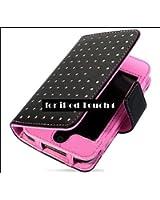 iPod touch4専用ウォレット風レザーケース  カバー  第4世代 ピンク