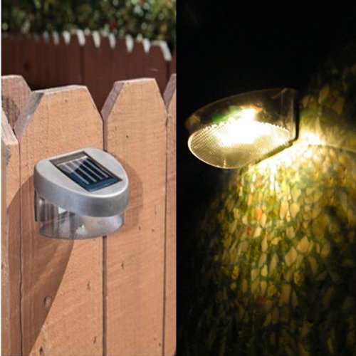 Vktech Outdoor Solar Powered 2 Led Wall Stairway Mount Garden Warm Yellow Light Lamp