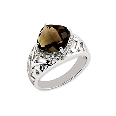 Black Bow Jewellery Company : Smoky Quartz & Diamond Ring in Sterling Silver