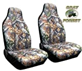 Forest Gray Camo High Back Seat Cover Pair for Pickups Surreal Camouflage