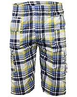 Boys Cargo Combat Shorts Kids Check Tartan Print Beach Summer Lightweight New