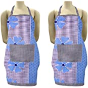 Exporthub Beautiful Cotton Multicolor Water Proof Kitchen Apron, Blue, (Buy 1 Get 1 Free)