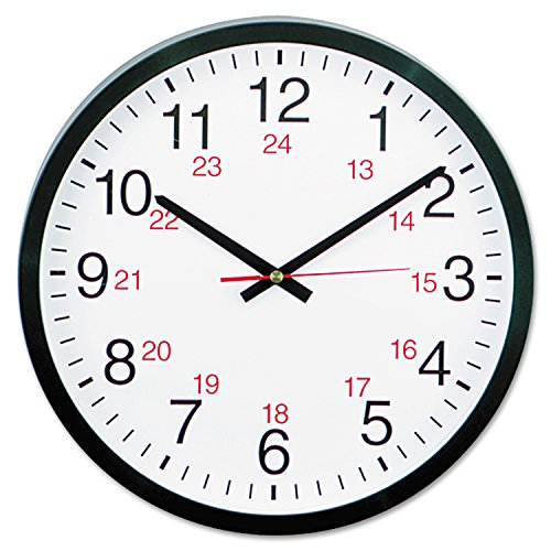 "Universal 24-Hour Round Wall Clock, 12 1/2"", Black, Case of"