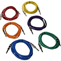 "Seismic Audio SATRX-10BGORYP 6 Pack Of Multi Color 10' 1/4""TRS To 1/4"" TRS Patch Cables"