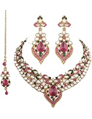 I Jewels Traditional Gold Plated Kundan Necklace Set With Maang Tikka For Women(Rani/Dark Pink & Green)(K7007QG)