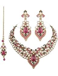I Jewels Traditional Gold Plated Kundan Necklace Set With Maang Tikka For Women(Rani/Dark Pink & Green)(K7007QG)