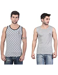 Combo Of Grey Star Printed & Plain Grey Cotton Gym Vest