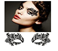 Living Art Fashion Palace Women Black Artistic Hollow Flower Adhesive Costume Halloween Lace Eye Magic Mask Eyelashes Make up Decals Stickers by China