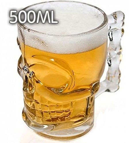 DOBO® Boccale birra teschio Skull Shot Boccale in vetro a forma di Teschio per birra - 500ml