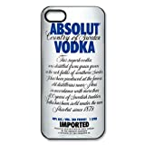 Absolut Vodka Sign Personalized iPhone 5/5S Case, iPhone 5/5S Black Plastic Protective Case Cover, Water Proof iPhone 5/5S Diy & Customized Case