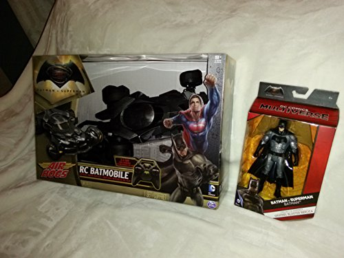 Batman vs Superman Set: DC Comics Official Movie Batman Figurine And Official Movie Replica RC Batmobile Light Up Remote Control In Unopened Box