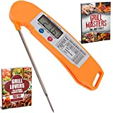 Premium Instant Read Cooking Thermometer with Long Probe - It is Small, Ultra Fast, Electronic, Digital, Accurate Kitchen Tool - Can Be Used For Barbecue, Grilling, Meat, Baking, Food, BBQ (Orange)