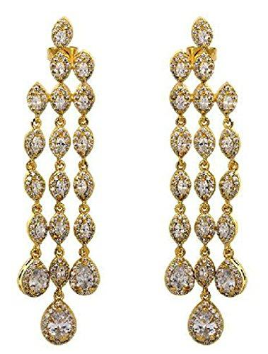 alimab Orecchini da donna placcato oro 18K orecchini pendenti Innumerevoli Ovale Forma 3Catene, placcato oro, colore: oro, cod. ABMMNNHHER74