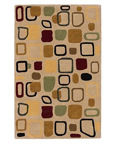 Handmade Mezzo Wool Rug, Khaki, 3′ 6″ x 5′ 6″