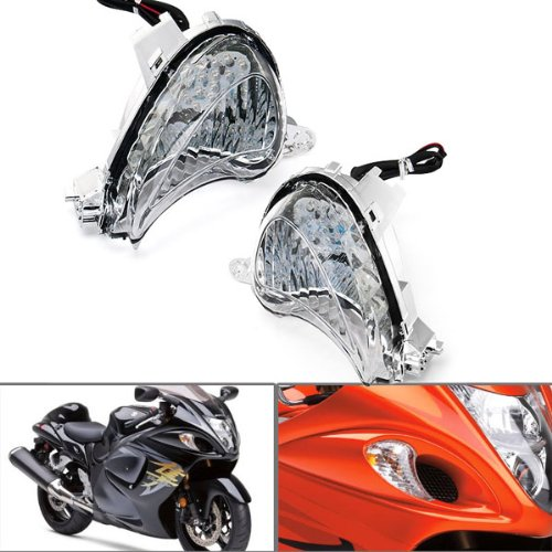 Super Bright Clear Lens LED Turn Signals Blinker Indicators For SUZUKI GSX-1300R HAYABUSA 08-12 New