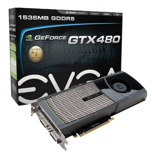 EVGA GeForce GTX480 1536MB GDDR5 Dual DVI, HDMI, SLI Graphics Cards 015-P3-1480-KR