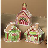 Clay Dough Gingerbread House Ornaments (set OF 3 Assorted)