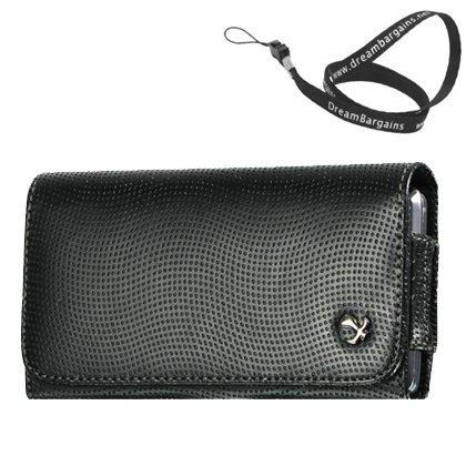 Premium Horizontal N9 - Black Carrying Case Pouch Case For Motorola Moto X - Free Dreambargains Neckstrap / Lanyard!