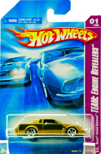 2007 - Mattel - Hot Wheels - TEAM: Engine Revealers #01 of 04 - Buick Grand National (Gold & Black) Hood Opens / 5 Spoke Wheels / Chrome Interior - New - Out of Production - Rare - Limited Edition - Collectible - 1