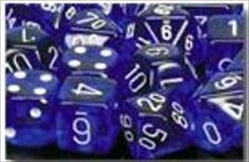 Chessex Dice Sets: Blue with White Translucent - Ten Sided Die d10 Set (10)
