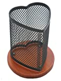 KLEAREX™ beautiful gift black mesh heart shaped pen and pencil holder with finished wooden bottom