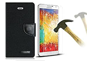 Relax And Shop Premium Flip With Tempered Glass For Samsung Galaxy A3- Black