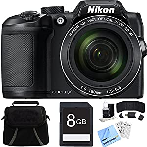 Nikon COOLPIX B500 16MP 40x Optical Zoom Digital Camera w/ Built-in Wi-Fi 8GB Bundle includes Camera, Bag, 8GB Memory Card, Reader, Wallet, Screen Protectors, Cleaning Kit and Beach Camera Cloth