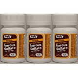 Ferrous Sulfate FC 325mg (5GR) Generic for Feosol Red Tablets 100 ea 3 PACK Total 300 tablets