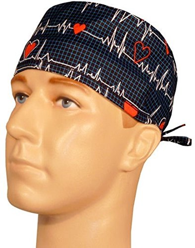 Mens and Womens Surgical Scrub Cap - Heartbeats on Navy (Scrub Cap Navy compare prices)