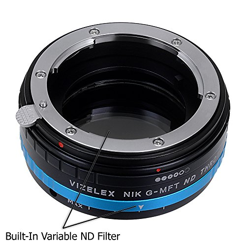 Vizelex ND Throttle Lens Mount Adapter - Nikon Nikkor F Mount G-Type D/SLR Lens to Micro Four Thirds (MFT, M4/3) Mount Mirrorless Camera Body. with Built-In Aperture Control Dial and Variable ND Filter (2-Stop to 8-Stops)