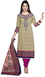 SP Marketplex Women's Cotton Unstitched Dress Materials (Spmsg319, Beige And Black)