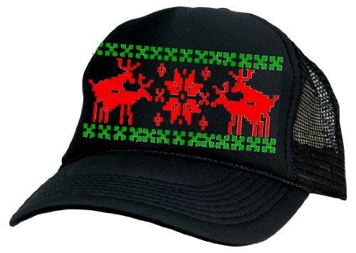 Humping Sex Reindeer Ugly Sweater Mesh Trucker Hat X Mas (Black)