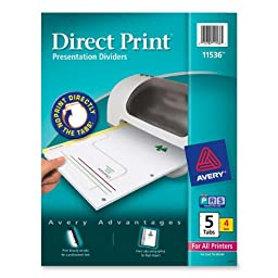 Avery Direct Print Laser Printer Dividers, 5-Tab, 4 Sets (11536)